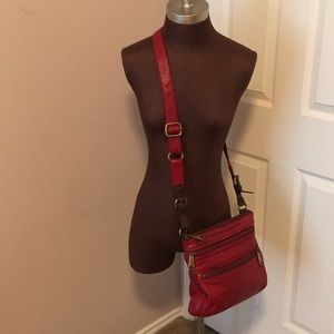 Leather FOSSIL Double Zip Crossbody Hobo Bag